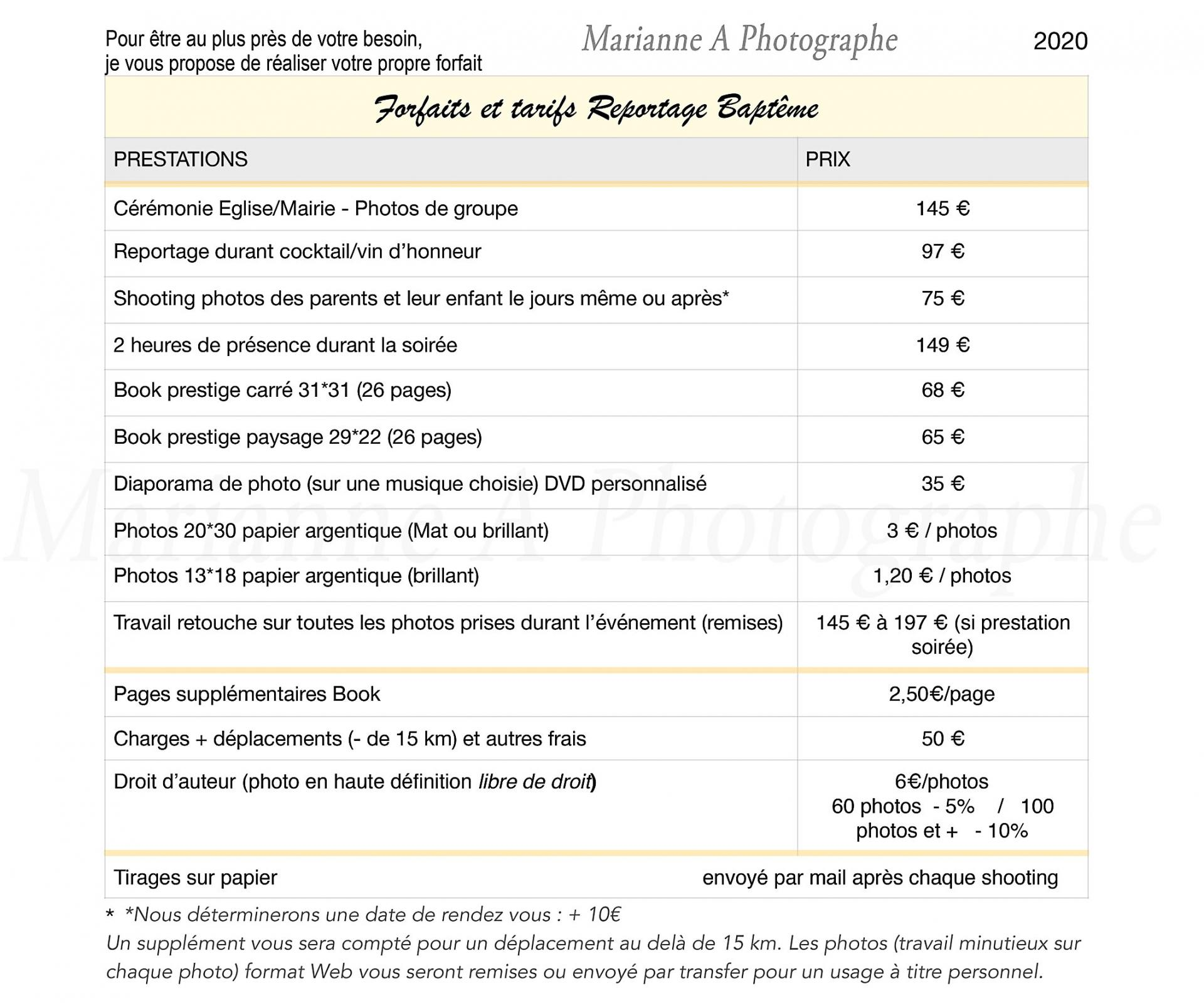 Marianneaphotographe tarifsreportagebapteme reveletonlook 2020